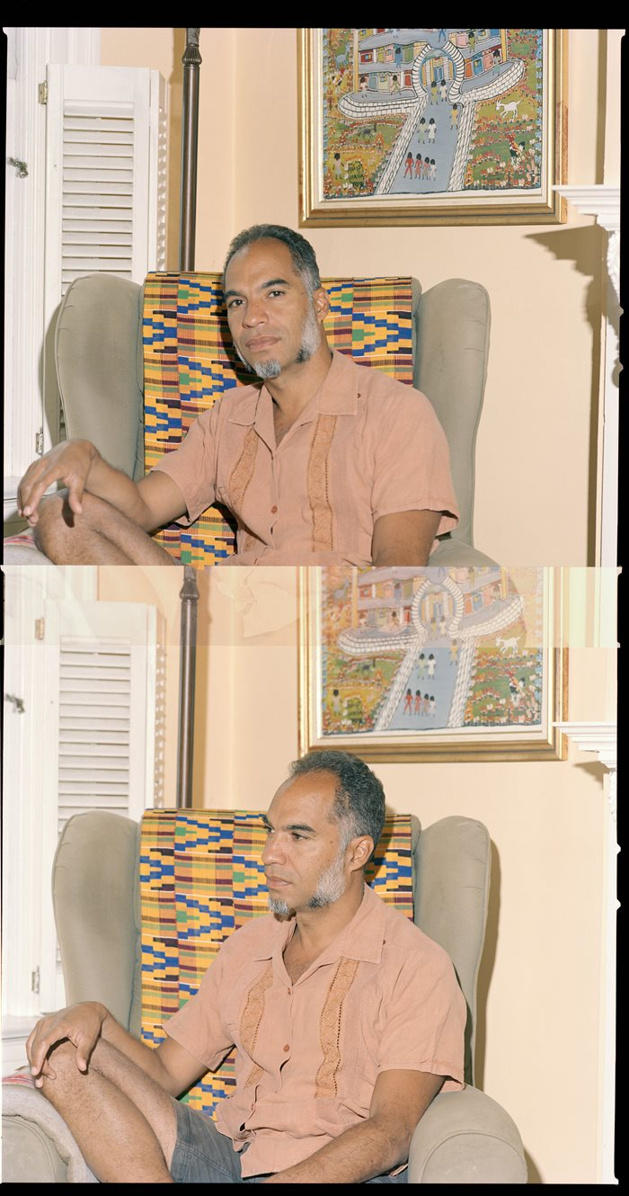 Two portraits of the same man who is sitting on a chair