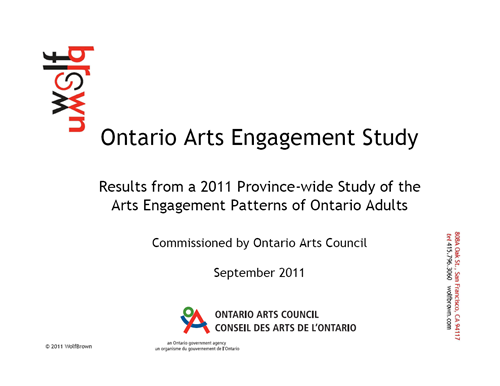 Ontario Arts Engagement Study