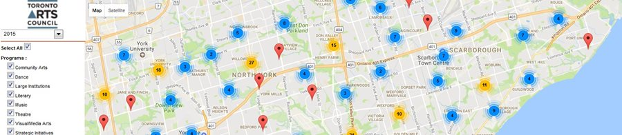 Toronto Arts Council's Interactive Activities Map, showcases the range of Activities funded within the city categorized by discipline, year, ward and neighbourhood.