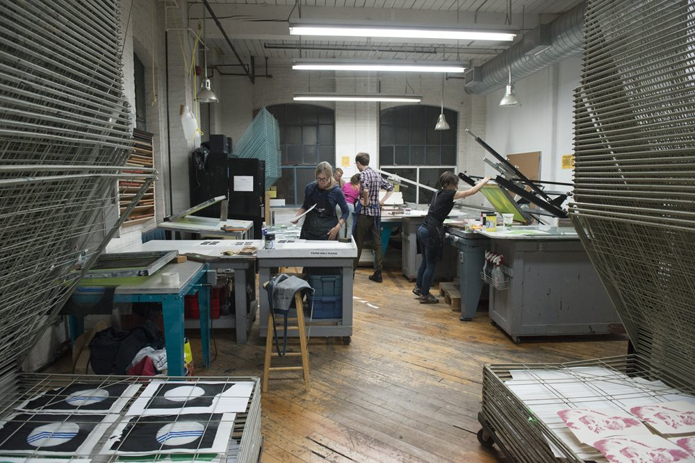 A view of the printing studio